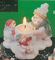 Snowmen Daddy w/ Children Candle Holder