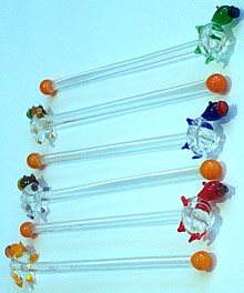 Art Glass Cocktail Stir Stick 6 piece(turtle)