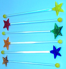 Art Glass Cocktail Stir Stick 6 piece(star)